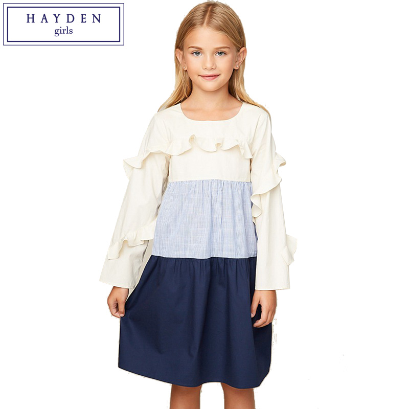 HAYDEN Girls Long Sleeve Cotton Dress 2018 Spring New Arrival Teenagers Ruffle Dresses 7 to 14 Years Brand Girl Clothes цена 2017