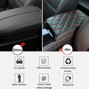 Image 3 - Universal Car Armrest Cover Mat Console Arm Rest Covers Soft Leather Sponge Protective Pad Mats Set Waterproof Auto Accessories