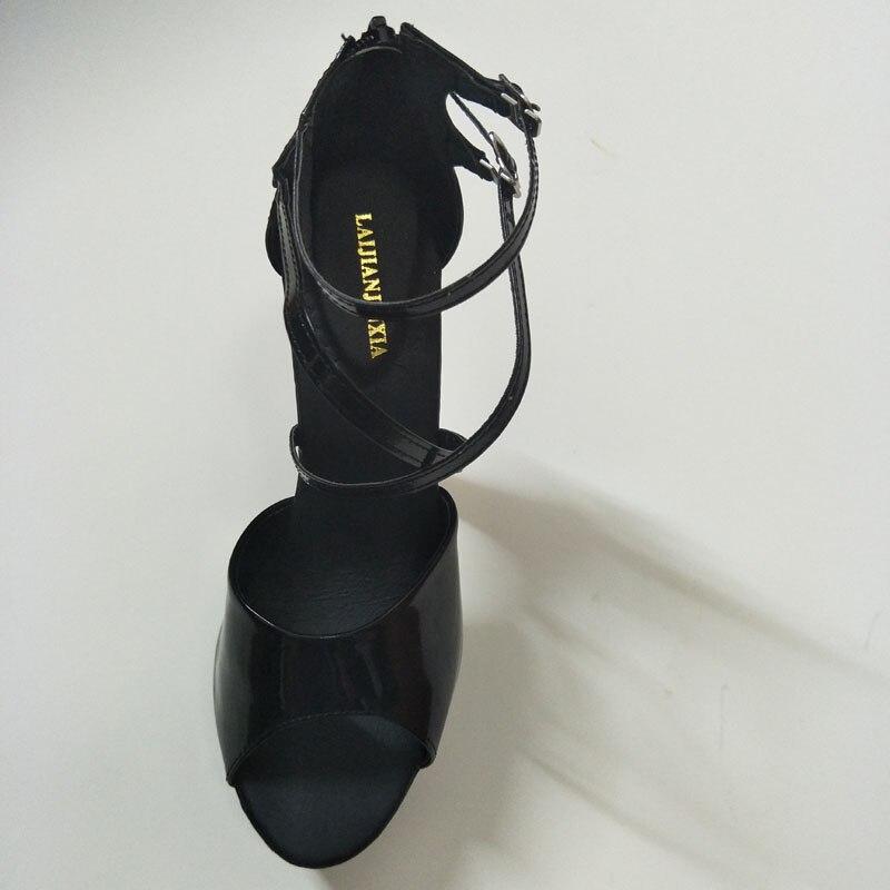 Classique Pouce formes Lanières Gladiateur Plates À Sexy Talon Laijianjinxia 8 Haute Chaussures Noir Super Talons Parti 20 Sandales Cheville Cône Cm wON8kXn0ZP