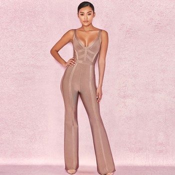 2019 Autumn New Fashion Women'S Bandage Jumpsuit Sexy Sleeveless Bodycon Spaghetti Jumpsuit Club Evening Party Jumpsuit фото