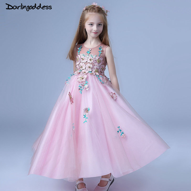 2018 Brand New Flower Girl Dresses For Weddings Pink Party Pageant ...