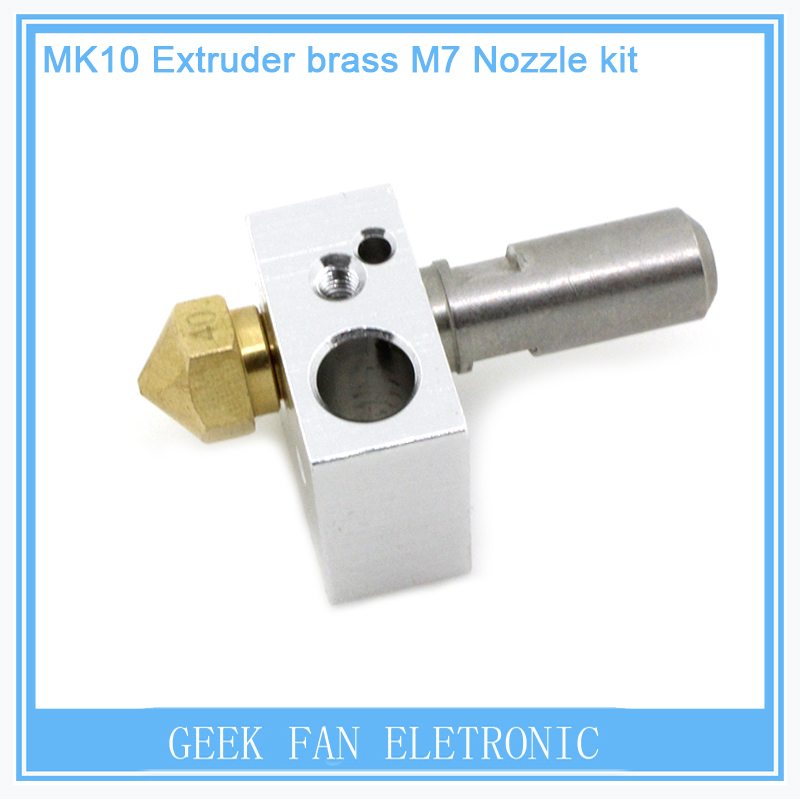 1PCS For 3D Makerbot Printer MK10 Extruder brass M7 Nozzle kit MAKERBOT 2-generation M7 Brass nozzle&PTFE throat and MK8 Block