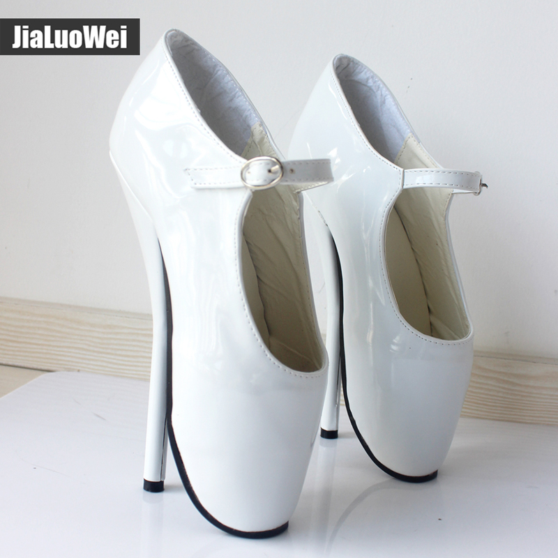 Jialuowei NEW  8 High Heel Sexy simple Ballet Heels Pumps Shoes Pointed Toe Ankle Buckle Straps Ballet Dancer Shoes wholesale lttl new spring summer high heels shoes stiletto heel flock pointed toe sandals fashion ankle straps women party shoes