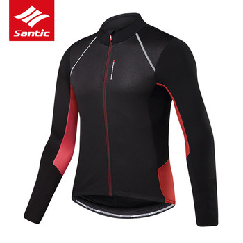 Santic Cycling Jersey Autumn Winter Long Sleeve Thermal Fleece Mountain Road Bike Jersey Men Bicycle Jersey Maillot Ciclismo