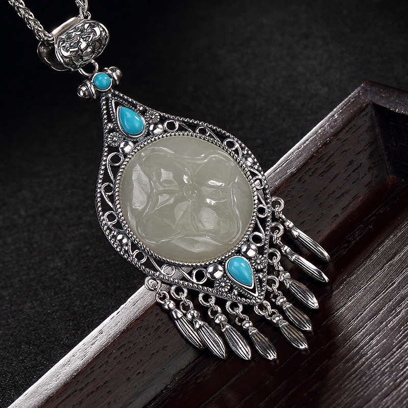 2018 Direct Selling Sale Accented S925 Pure Natural Hetian Mosaic Turquoise Tassel Lady Sweater Chain Pendant Wholesale faux turquoise oval round sweater chain