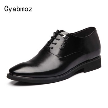 Cyabmoz Brand Fashion British Style Genuine Leather Sapato masculino Business Dress Shoes Height Increasing 6 CM Elevator Shoes