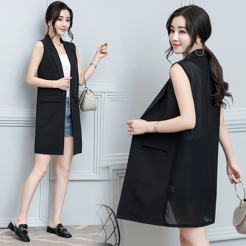 0718 Summer Chiffon Sleeveless Jacket Elegant Blazer Vest Women Long Waistcoat Loose Back See Through Vest Female Single Button in Vests amp Waistcoats from Women 39 s Clothing