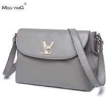 MISS YING 2016 New Summer Retro Genuine Leather Handbag Korean Fashion All-Match Shoulder Messenger Bags Black+Grey+Pink