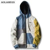 Aolamegs Bomber Jacket Men Retro Japanese Patchwork Thick Men S Jacket Hip Hop Fashion Outwear Autumn