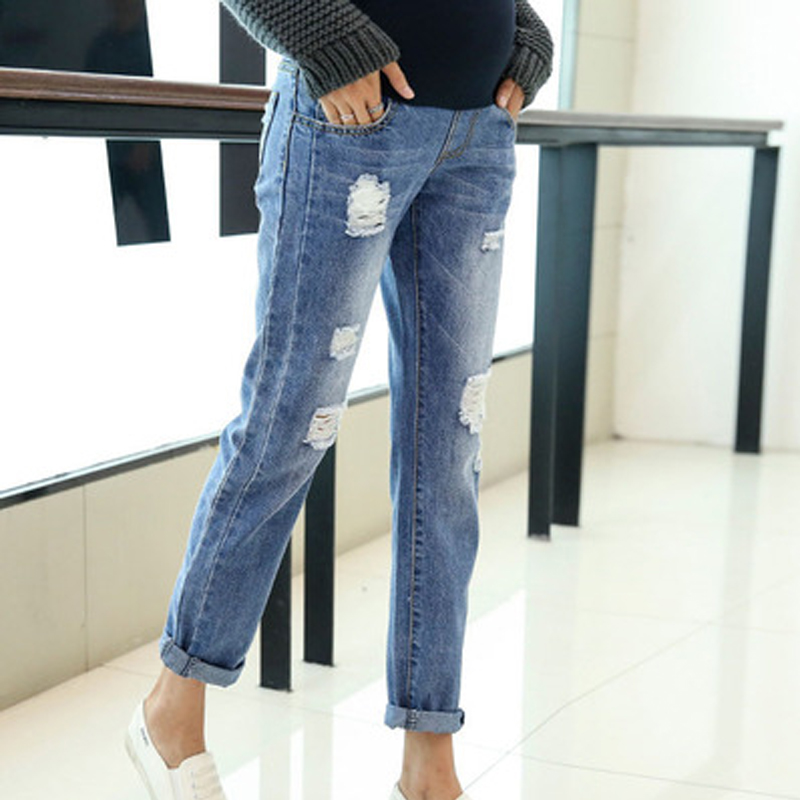 Maternity Jeans Pants Loose Pregnant Women Clothes Trousers Nursing Prop Belly Legging Pregnancy Clothing Overalls Ninth Pants image
