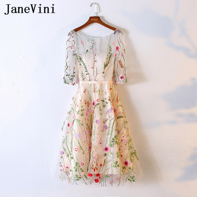 JaneVini 2018 Illusion Champagne Short Prom Dresses Half Sleeve Embroidery Tea Length Bridesmaid Dresses Girl Party Formal Gowns