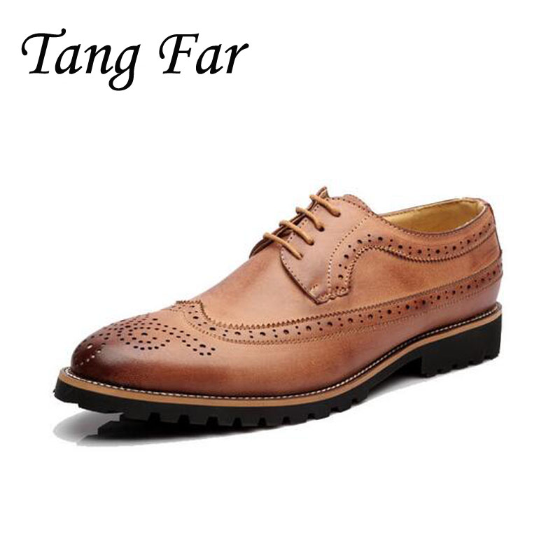 Men Brogue Formal Shoes Mens Wedding Shoes British Fashion Oxford Brand Leather Flats Male Black Brown top quality fashion formal mens dress shoes genuine leather black luxury wedding shoes men flats office for male oxford shoes