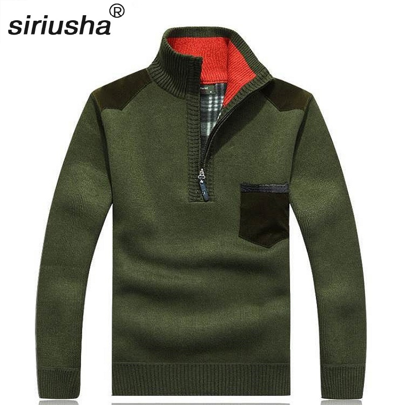 Oversize Men's Thermal High Collar Zipper Pullover Jumper Sweater Youth Wear To 95 Kg Flannel & Wool Into A New Composite S73