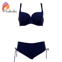Andzhelka Plus Size Swimwear 2017 Newest Bikinis Women Solid Bikinis Set Soft Cups Underwire Bathing Suit