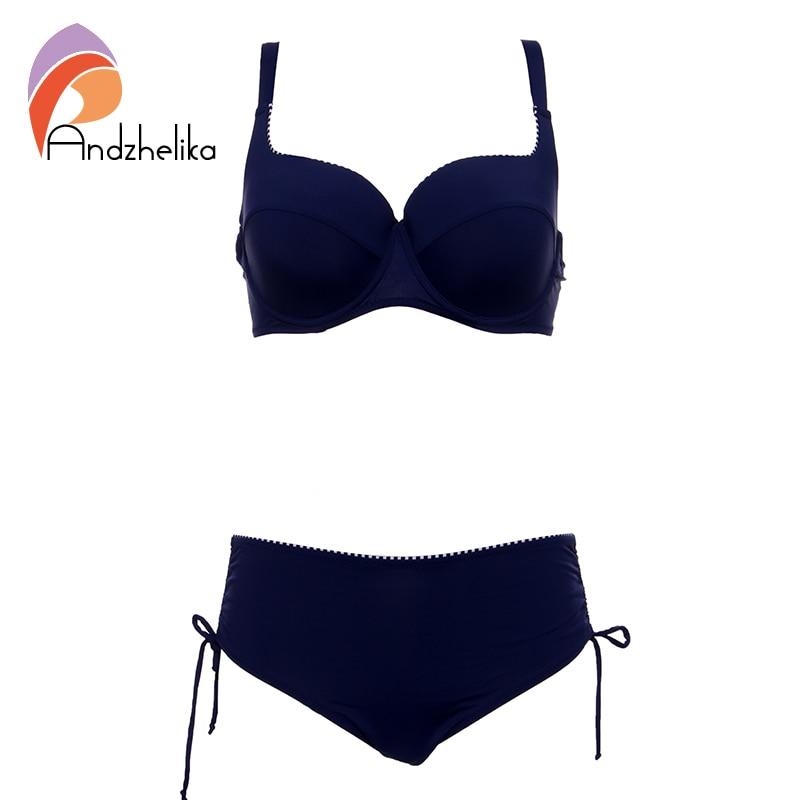 Andzhelka Plus Size Swimwear 2018 Newest Bikinis Women Solid Bikinis Set Soft Cups Underwire Bathing Suit Maillot de bain