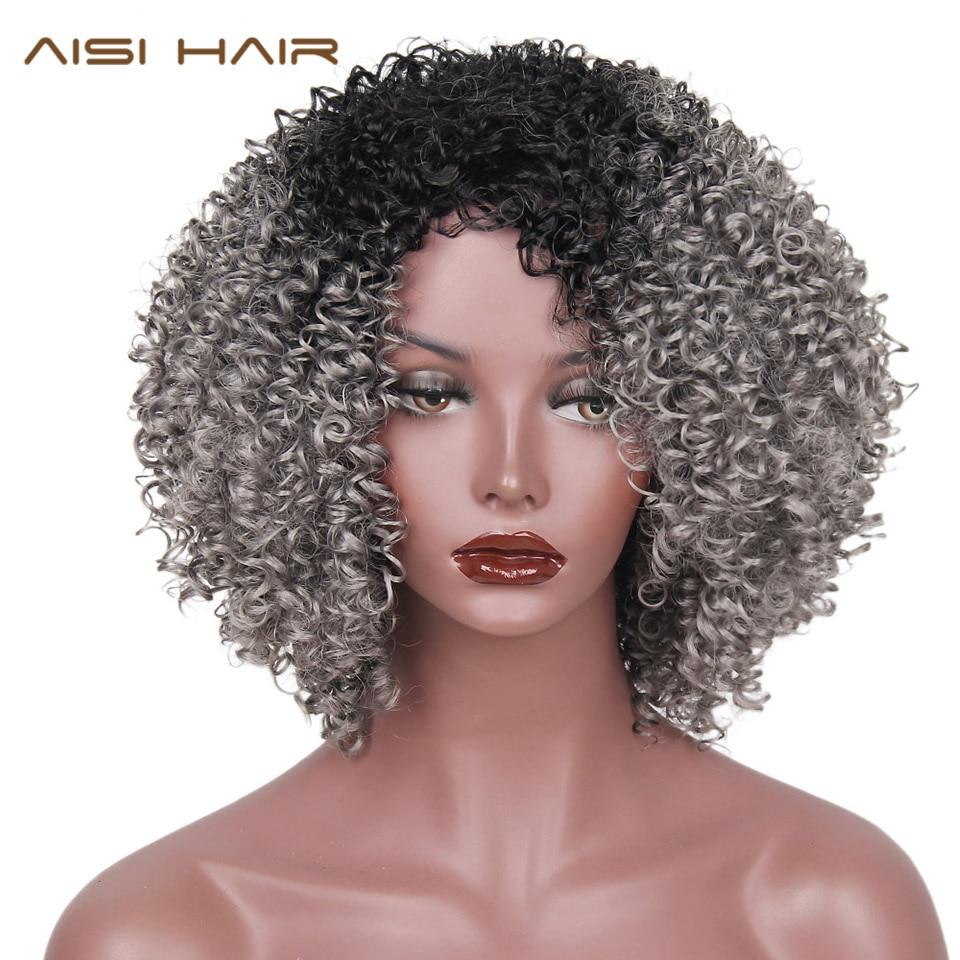 AISI HAIR Syntetiska peruker Lång Afro Kinky Curly Ombre Svart Gråt - Syntetiskt hår