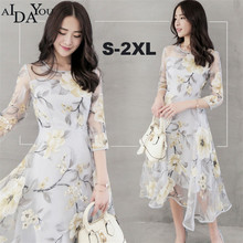Ruffle floral print summer dress long women chiffon o-neck A-line mid-calf beach dresses female Boho party AIDAYOU ouc774