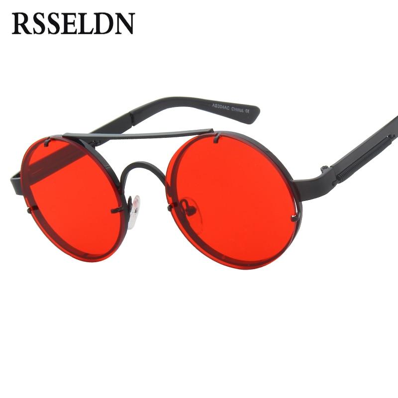 RSSELDN New Steampunk Sunglasses Men Brand Designer Fashion Round Sun Glasses For Women Vintage Metal Sunglass UV400 Shades R962