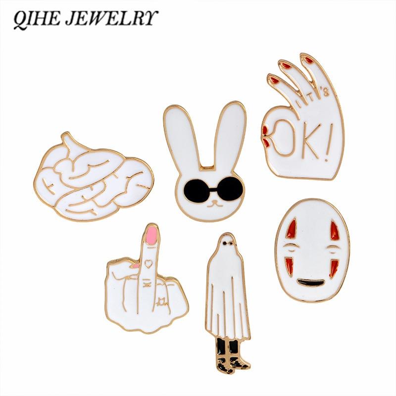 Enamel pins White rabbit mask figure sign brain cute cartoons