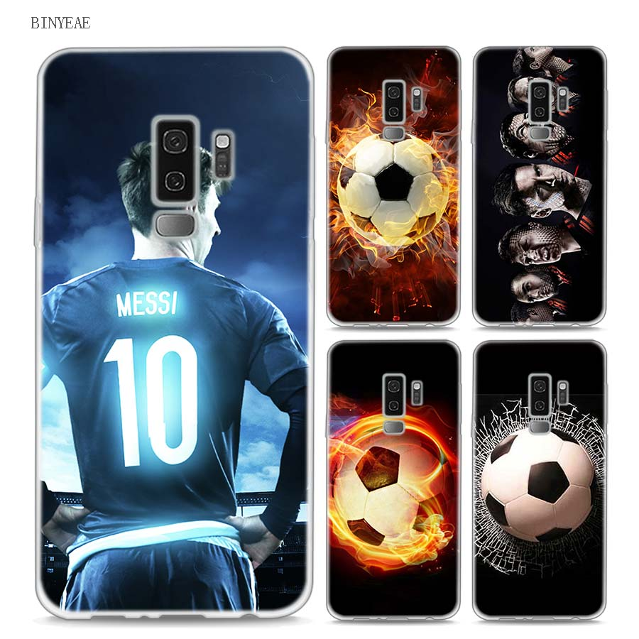BINYEAE Fire Football Soccer Style Clear Soft TPU Phone Cases For Samsung Galaxy S9 S8 Plus S7 S6 S5 S4 Mini Edge