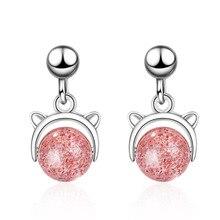 Fashion Pink Crystal Cute Cat Animal 925 Sterling Silver Ladies` Tassel Stud Earrings For Women Original Jewelry Anti Allergy