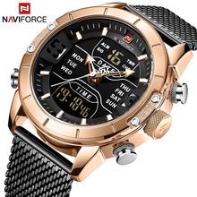 NAVIFORCE hommes montre haut marque de luxe LED à double affichage horloge montre daffaires étanche Quartz montre bracelet Relogio Masculino