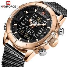 NAVIFORCE мужские часы Топ бренд класса люкс двойной дисплей светодиодный бизнес часы водонепроницаемые кварцевые наручные часы Relogio Masculino