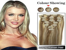 #P12/613 hair extensions Brazilian remy human hair15-22inch 7pcs set human hair clip in extensions