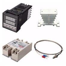 디지털 220V PID REX C100 온도 컨트롤러 + max.40A SSR + K 열전쌍, PID 컨트롤러 세트 + 방열판