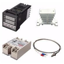 Digitale 220V Pid REX C100 Temperatuur Controller + Max.40A Ssr + K Thermokoppel, Pid Controller Set + Koellichaam
