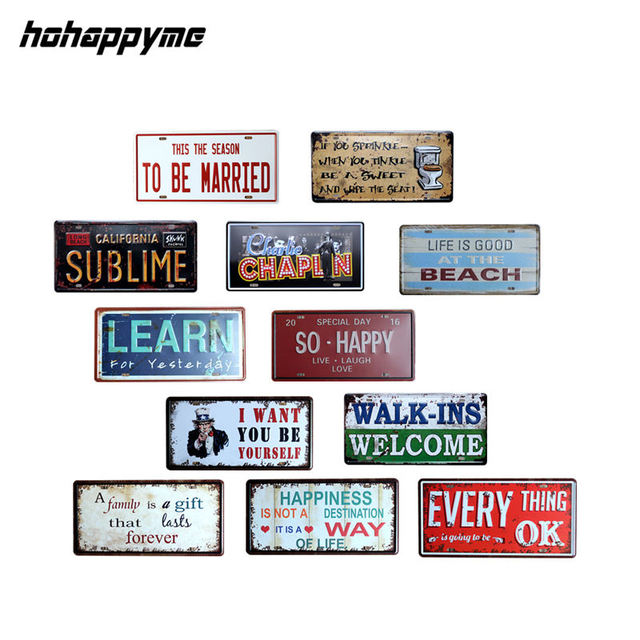 Aliexpress Buy Metal Plaque Car License Plate Decor Plaques New Bedroom Wall Plaques