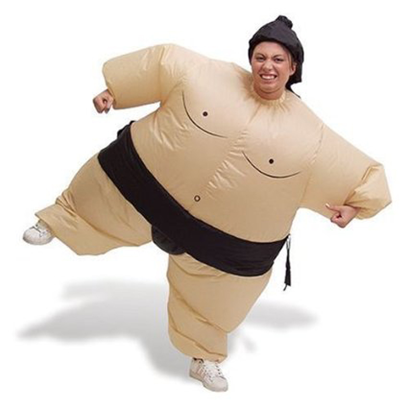Woman Birthday Party Inflatable Sumo Suit Hat Cosplay Fancy Dress Wrestling  Halloween Costume Battery Fan Operated