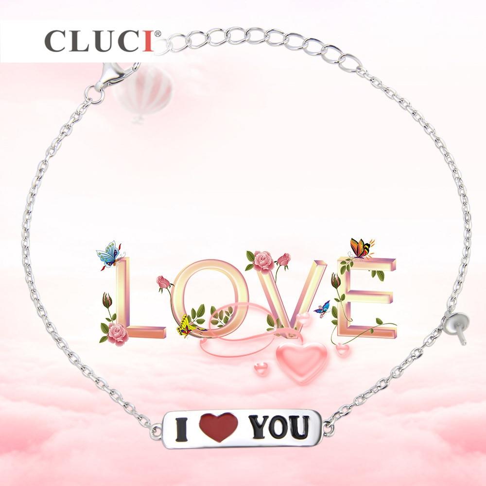 CLUCI Valentines Gift 925 sterling silver I LOVE YOU bracelet accessary romantic love Bijoux Fine Dainty Heart Tiny bracelet