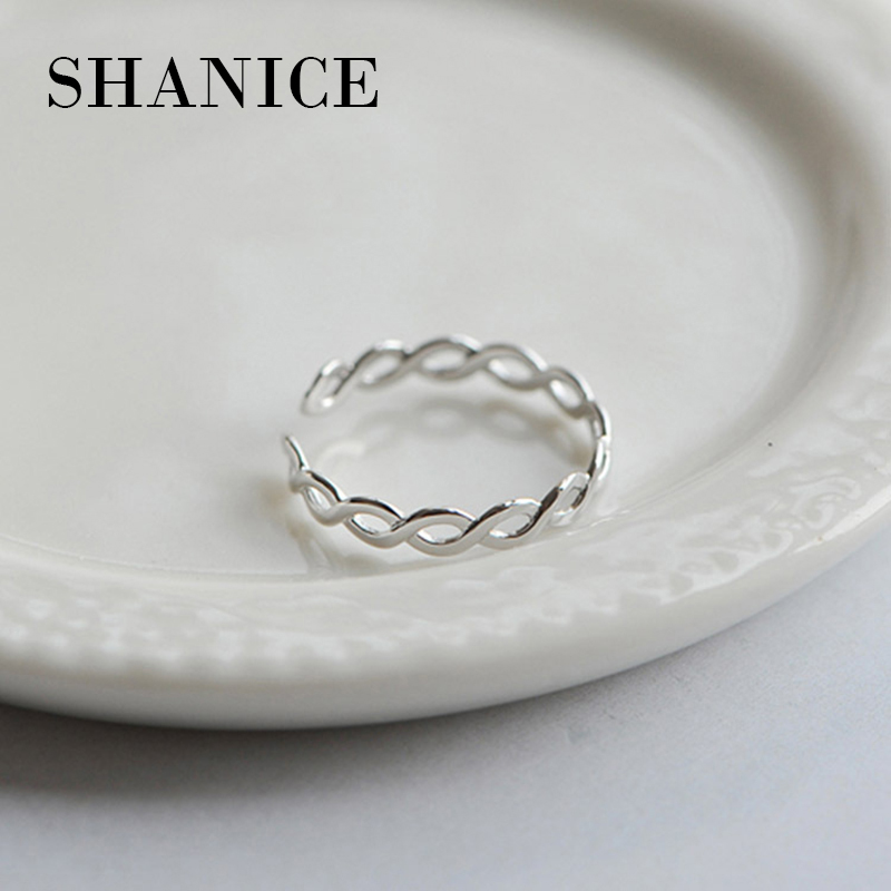SHANICE 925 Sterling Silver Ring Opening Hollow Twist Pumk Style Vintage Fashion Silver Jewelry For Women