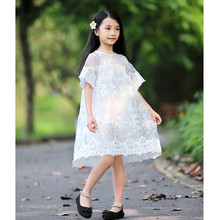2019 Fashion Children's White Lack Dress New Styles Embroidery Short Sleeves Princess Dresses For Girls Clothes 3-12Ys