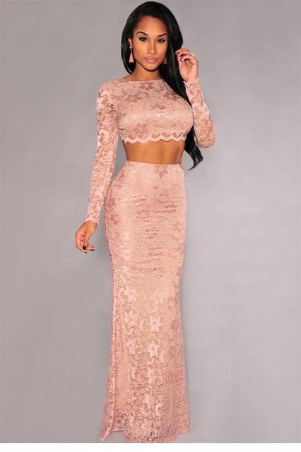 2017 New women clothing set Sexy Long Sleeve 2pcs Lace crop top and skirt conjunto saia e blusa roupas femininas