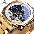 Forsining Tourbillon автоматические часы мужские механические часы Moonphase Дата с автоматическим заводом мужские стальные наручные часы Relogio Masculino