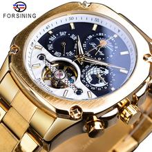 купить Forsining Tourbillon Automatic Watch Mens Mechanical Watches Moonphase Date Self-Winding Male Steel Wristwatch Relogio Masculino по цене 2601.34 рублей