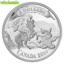 DHL free shipping 100 pcs/lot Beautiful Canada 2014 Silver plated $5 coin Saint George Slaying Dragon coin copy coin(China)