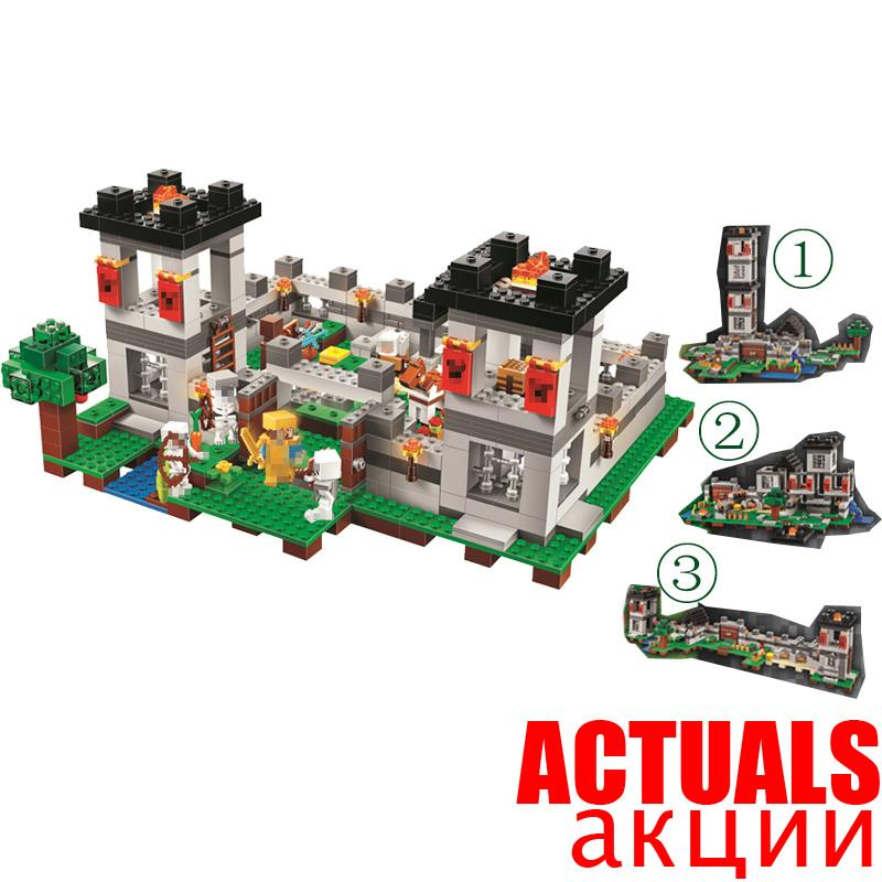 990pcs My world Minecraft The Fortress 4 models action figures DIY Building Block Bricks Toy For Kids CompatibleINGly 21127 lepin 404pcs my world the jungle temple minecraft model kit anime action figure building block bricks hot toy for children 21132