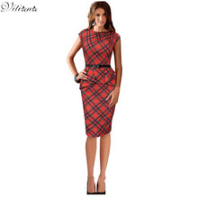 2016 New Womens Vintage Elegant Belted Tartan Peplum Ruched Tunic Work Party Business Sleeveless Sheath Bodycon Dress