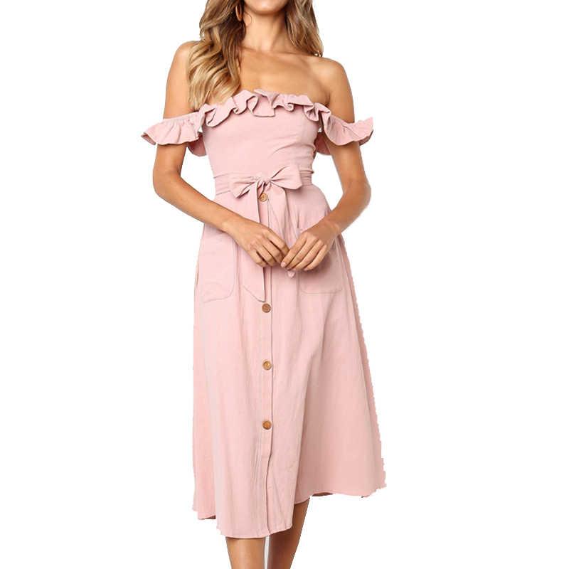 Женское платье миди с открытыми плечами, женское вечернее платье, весенне-летнее платье с рюшами и бантом, повседневная женская одежда
