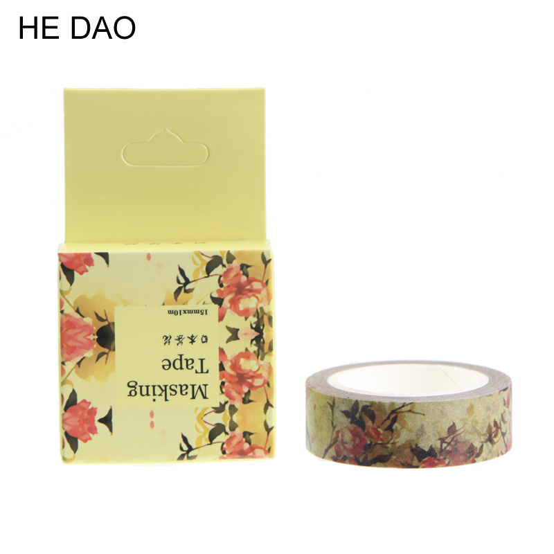 1 Pc / Pack Size 15 Mm*10m Diy Japanese Camellia Washi Tapes / Masking Tape / Decorative Adhesive Tapes / School Supplies