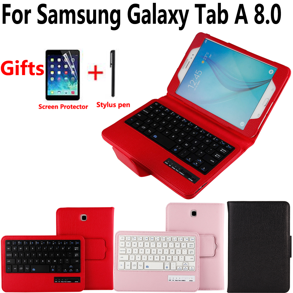 все цены на Detach Wireless Bluetooth Keyboard Case Cover for Samsung Galaxy Tab A 8.0 SM-T350 T350 T355 P350 with Screen Protector Film Pen онлайн