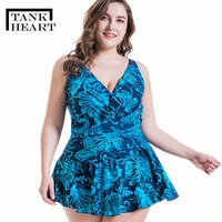 Tank Heart Print Plus Size Swimwear Women One Piece Swimsuit Girls Badpak Bathing Suit Women Monokini