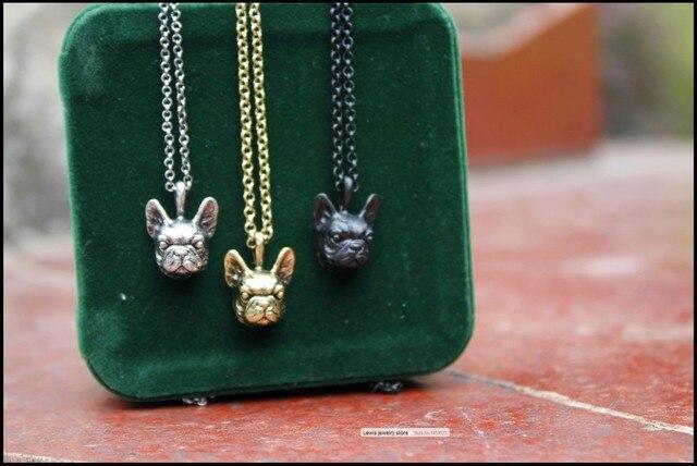 Фото ожерелье в стиле ретро хиппи французский бульдог панк цвет черный цена