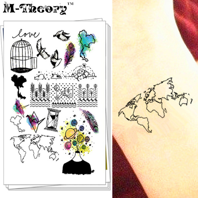 M-Theory 3d Makeup Temporary Flash Tattoos Body Arts World Map Fake Tatoos Stickers Tatuagem Tatto Swimsuit Bikini Makeup Tools