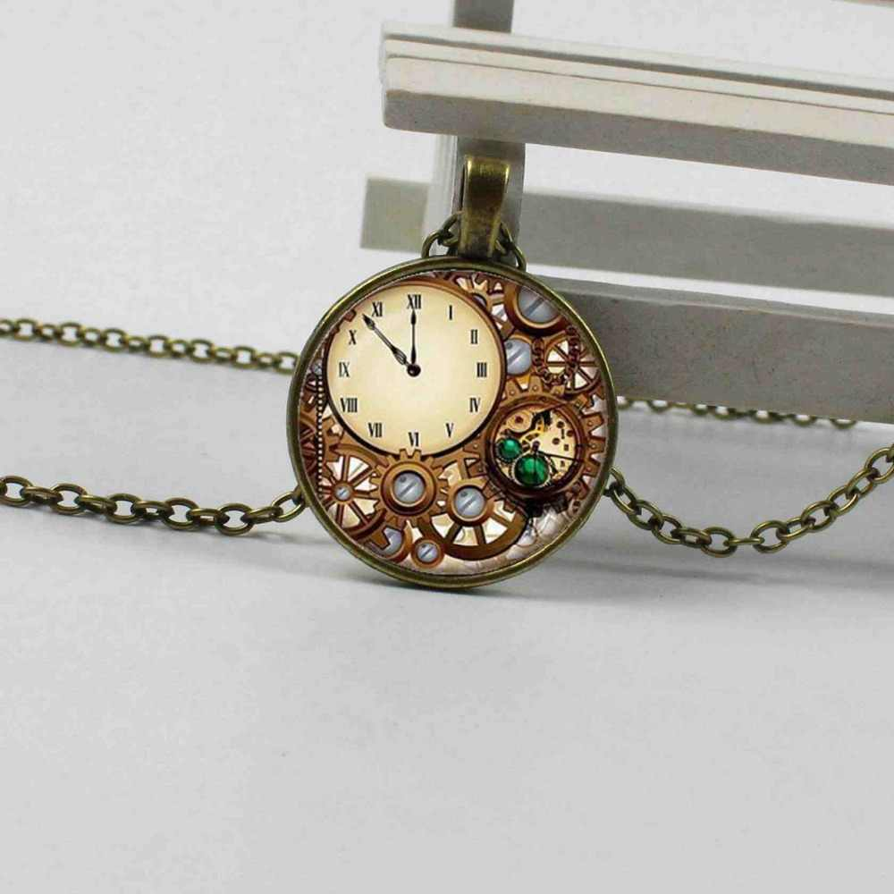 3 color steampunk watch glass dome pendant necklace charm personality mechanical watch pendant jewelry gift