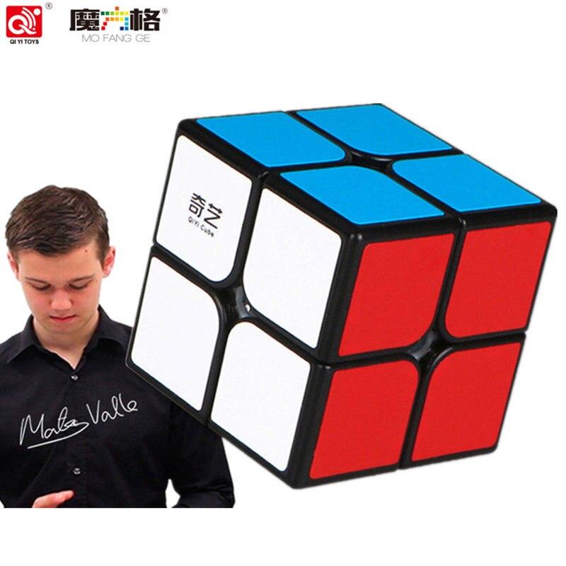 Qiyi marca cubo 2x2 cubo mágico 2 por 2 cubo 50mm velocidade bolso adesivo quebra-cabeça cubo profissional brinquedos educativos para crianças QY-2