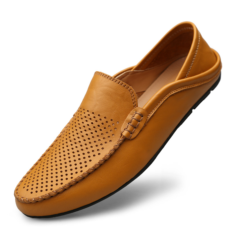 Valstone hollowed Casual leather shoes Men Slip-on loafers Summer - Men's Shoes - Photo 4